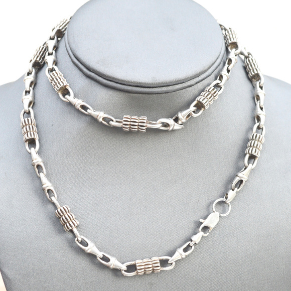 Other - Big Heavy Silver Long Necklace pewter Chain Rocker